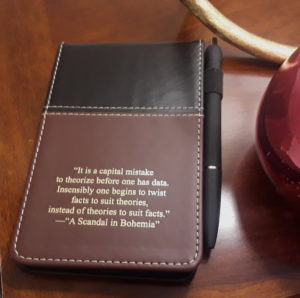 Sherlock Holmes Bonded Leather Mini Pad-folio with a pen